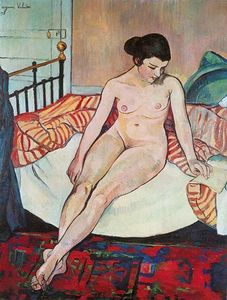 Nude with a Striped Blanket