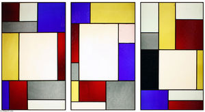 Tripartite stained glass window
