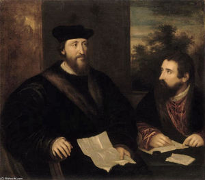 French Cardinal Georges d`Armagnac and his secretary G. Philandrier