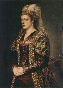 Портрет Катерины Корнаро жены короля Джеймса II Кипра, одетый, как Святой Екатерины