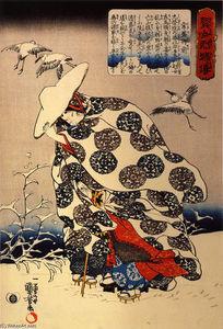Tokiwa-Gozen with her three children in the snow