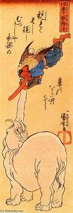 Elephant catching a flying tengu