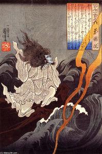 Sotoku invoking a thunder storm