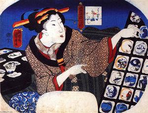 Woman selling decorative bowls