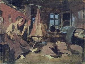 Night in the hut. Sketch for 'Sleeping Children'