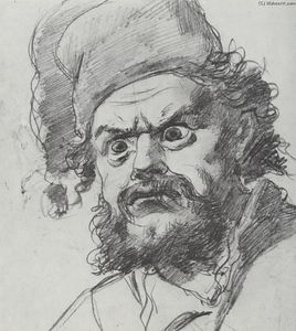 The head of Pugachev. Sketch