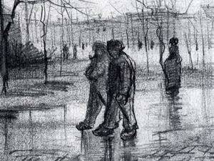 A Public Garden with People Walking in the Rain