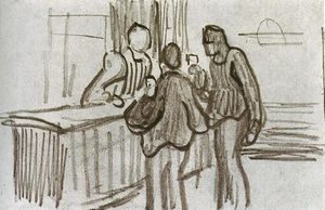 Men in Front of the Counter in a Cafe