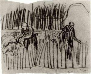 Two Women Working in Wheat Field