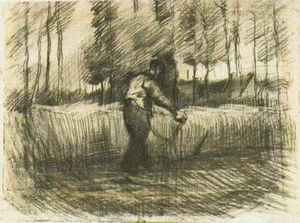 Wheat Field with Trees and Mower