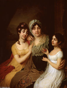 Portrait of A.I. Bezborodko with daughters