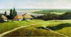 Ukrainian landscape with huts