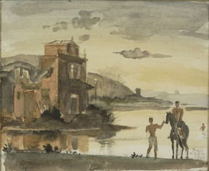 Horseman and bather with house