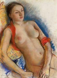Nude with red scarf