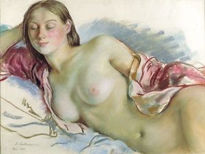 Reclining Nude with cherry mantle