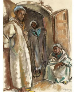 Three figures in the doorway. Marrakesh