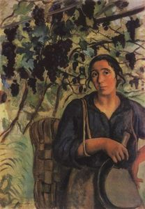 Italian peasant woman in a vineyard