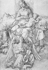 la virgen y el niño con un Music-making Angel