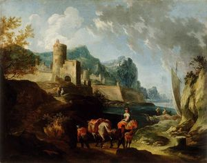 Seacoast with Travellers and a Town