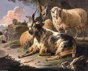 Italianate Landscape with a Goat and Sheep