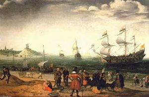 Coastal Landscape with Ships