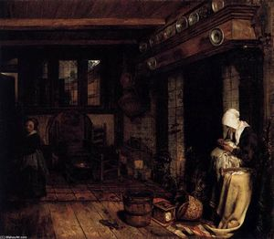 Dutch Interior with Woman Sewing