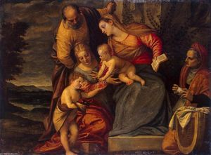 Holy Family with Sts Catherine, Anne and John