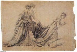 The Empress Josephine Kneeling with Mme de la Rochefoucauld and Mme de la Valette