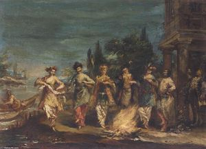 Three Couples in Exotic Dress Dancing in front of a Fire