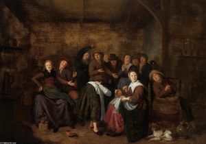 'Peasants in an Inn Playing ''La Main Chaude'''