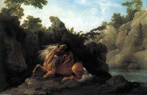 Lion dévorant un cheval