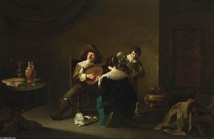 Interior with a Gentleman Playing a Lute and a Lady Singing