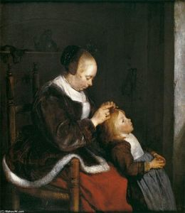 Mother Combing the Hair of Her Child