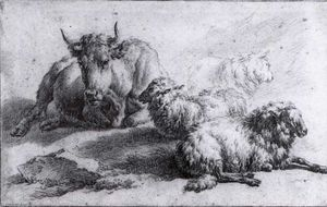 A Cow and Three Sheep