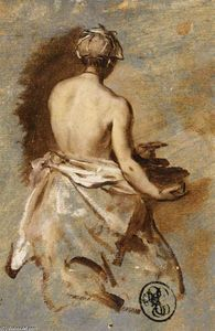 Young Woman with a Nude Back Presenting a Bowl