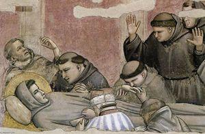 Scene da vita di san francesco : 4 . morte e ascensione di san francesco ( particolare ) ( 10 )