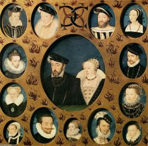 Henri II of Valois and Caterina de' Medici, Surrounded by Members of Their Family