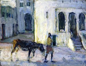 Man Leading a Donkey in Front of the Palais de Justice, Tangier