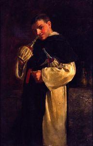 Monk Smelling a Bottle of Wine