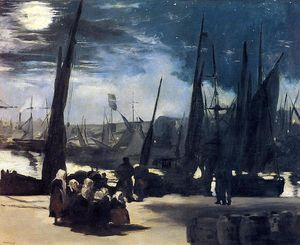 Moonlight over Boulogne Harbor