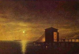 Moonlit Night. A Bathing Hut in Feodosia.