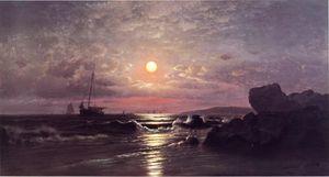 Восход луны на Новый England Побережье
