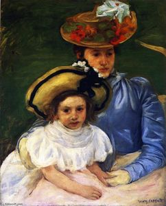Mother and Daughter, Both Wearing Large Hats