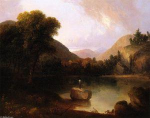 Mountain Lake with Man Fishing