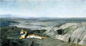 Night on the Desert (study) (also known as Tiger Resting in the Moonlight)