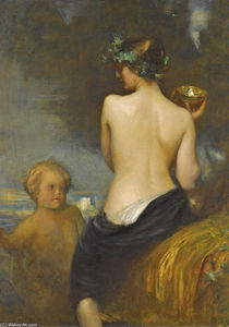 A Nude Bacchante With A Child Faun