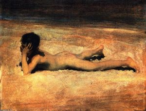 un nude Boy sur une Plage ( également connu sous le nom boy lying sur une Plage )