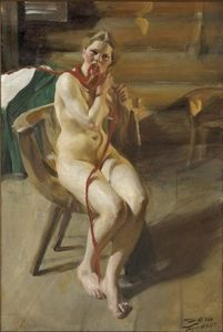Nude woman arranging her hair