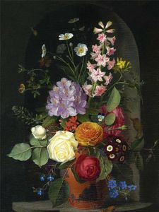 Otto Didrik Ottesen A Bouquet In A Wedgwood Rosso Antico Vase, Set In A Niche