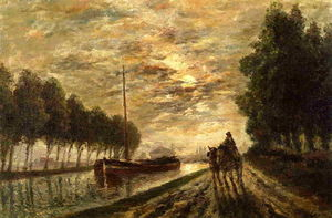 The Ourcq Canal, Towpath, Moonlight